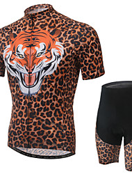 Unisex Cycling Jersey Suits with Short Pants,Short Sleeve ,3D Pad,Tiger Digital Print,Coolmax,Skinny,