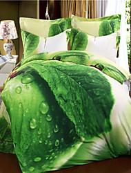 verde Mingjie folhas de cama de algodão conjuntos 3d 4pcs queen size roupa de cama china Duvert conjuntos de cobertura