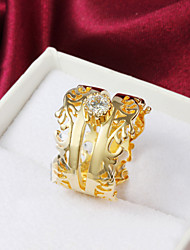 Gold Plated Simple Zircon Hollow Out Statement Rings Party/Daily