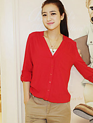 Women's Blue/Red/White/Black/Yellow/Purple Shirt , V Neck/Stand Long Sleeve