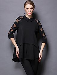 The long summer autumn new big yards loose fat ladies fashion show thin shirt dress shirts