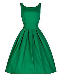 Women's Vintage Micro Elastic Sleeveless Midi Dress (Cotton)