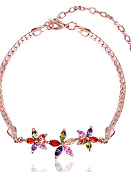 Gorgeous Women's Gold Alloy with Colorful Crystals Wedding Jewelry Cubic Zirconia Bracelt (with Gift Box)