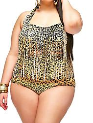 Bikinis Aux femmes Franges/Animal Push-up Licou Nylon/Polyester
