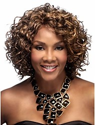 Synthetic African american wigs Short kinky curly brown hair wigs for women
