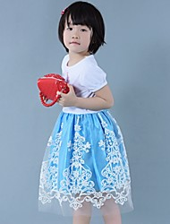 Girl's Cartoon Stretchy Thin Short Sleeve Dresses (Cotton/Lace/Mesh)