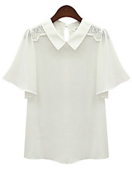 Women's Lace White/Yellow Blouse , Shirt Collar Short Sleeve
