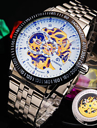 Men's New Round Dial Symphony Mineral Glass Mirror Stainless Steel Band Fashion Business Mechanical Waterproof Watch