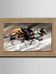 Oil Paintings One Panel Modern Abstract Racing Figure Hand-painted Natural Linen Ready to Hang