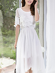 Women's Casual/Daily Dress,Solid Midi Short Sleeve White Summer