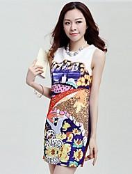 Women's Multi-color Dress , Casual Sleeveless