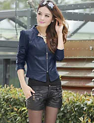 Women's PU Leather Collar Coat