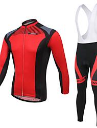 Fahrradtrikot mit Trägerhosen Herrn Langärmelige Fahhrad Atmungsaktiv / UV-resistant / tragbar / 3D Pad / Tasche auf der RückseiteBib -