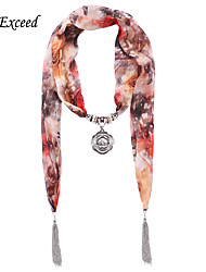 D Exceed  Ladies China Ink Printed Scarves with Metal Rose Flower Pendant Chiffon Scarves Necklace