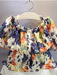 Pastoral Floral Shirt Strapless Tops
