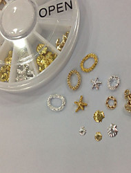 W125 60pcs/set Beauty Golden Metal Nail Art Mix Shape Metal Alloy Cute Star Round Wheel New Design DIY Nail Accessories