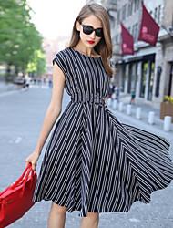 Women's Striped White/Black Dress , Vintage/Casual/Work Round Neck Short Sleeve