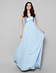 Floor-length Chiffon / Satin Chiffon Bridesmaid Dress - Sky Blue Plus Sizes / Petite Sheath/Column Sweetheart