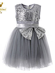 Girl Silver Gray Sequin Ornate Ballerina Inspired Dress