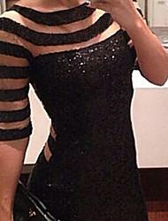Mini - Vestido - Sexy/Bodycon - Lentejuelas/Malla