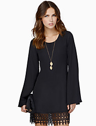 Women's Casual Round Long Sleeve Dresses (Cotton Blend)