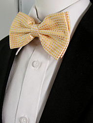 Men's Light Orange Dots Pre-tied Ajustable SilkBlend Wedding Dress Fashion SilkBlend Bow Tie