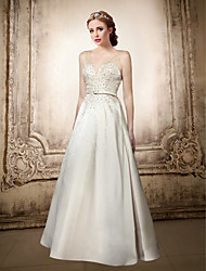 Formal Evening Dress - Ivory / Black Plus Sizes / Petite A-line V-neck Floor-length Satin / Tulle