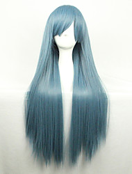Cos Anime Bright Colored Wigs Dark Green Long  Straight  Hair Wig 80 cm