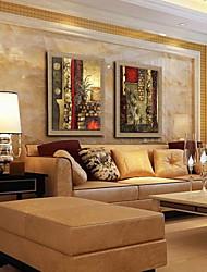 peinture à l'huile abstraite main la décoration peinte lin naturel avec la main tendue encadrée - ensemble de 2