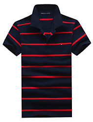 Men's Casual Short Sleeved Striped Cotton Polos