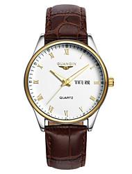 GUANQIN® Top Grade Fashion Men Japanese Quartz Waterproof Sapphire Calendar Luminous Leather Band 38mm Wrist Watch Cool Watch With Watch Box