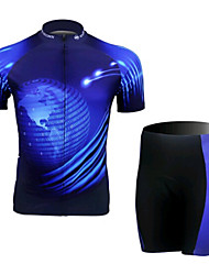 Blue Short Sleeved Jersey Suit Of Digital Earth, Moisture Cycling Wear, Motor Function Material