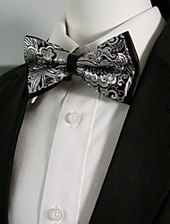 Men's Black White Flower Silk Blend Pre-tied Bow Tie Ajustable Dress Wedding