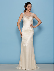 Lanting Bride® Sheath / Column Petite Wedding Dress See-Through Wedding Dresses Sweep / Brush Train Cowl Lace with