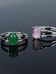S925 Sterling Silver Ring Inlaid Natural Chalcedony Crystal Translucent Stones Opening Ring