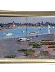 Theodore Robinson, à marée basse, club rivière yacht encadrée impression sur toile
