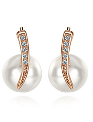 HKTC 18k Rose Gold Plated Jewelry with Austrian Crystal Simulated Pearl Stud Earrings