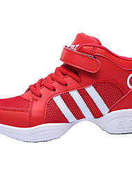 Non Customizable Kids' Dance Shoes Dance Sneakers/Modern/Gymnastics Leather/Fabric Chunky Heel Red
