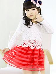 Menina de Vestido Jacquard Misto de Algodão Todas as Estações Rosa / Vermelho