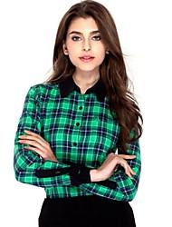 JAMES Autumn Women's  Flannel Long Sleeve Shirt/ Blouse with Green-Blue-Black Plaids & Checks Casual Fashion