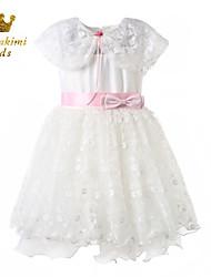 Girl White Cape Soutache Satin Tulle Wedding Dress