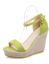 Women's Shoes Synthetic Wedge Heel Wedges Sandals Dress / Casual Black / Green / Pink