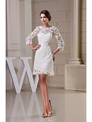A-line Wedding Dress - White Knee-length Jewel Lace