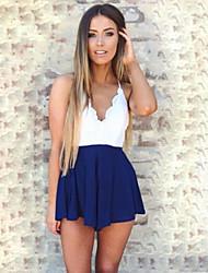 Women's Sexy Beach Casual Print Cute Plus Sizes Micro  Elastic Thin Sleeveless Jumpsuits (Lace)