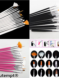 15PCS Nail Art Design Painting Drawing Pen Brush Set(White,Pink,Black 3 Color to Choose)