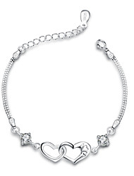 Jazlyn Authentic Platinum Plated 925 Sterling Silver Woman Heart Love Cubic Zirconia Link Chain Bracelet