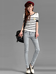 Women's Wear White Wrinkled Feet Jeans