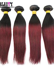 """4Pcs/Lot 10""""-26"""" Ombre Human Hair Extensions T1B/Burgundy Peruvian Virgin Hair Straight Rosa Hair Products Cheap Hair"""