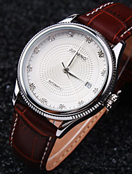 Men's New Round Diamond Dial Mineral Glass Mirror Genuine Leather Band Fashion Mechanical Waterproof Watch
