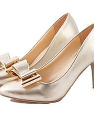 DamenKleid-Kunstleder-Stöckelabsatz-Spitzschuh-Silber / Gold